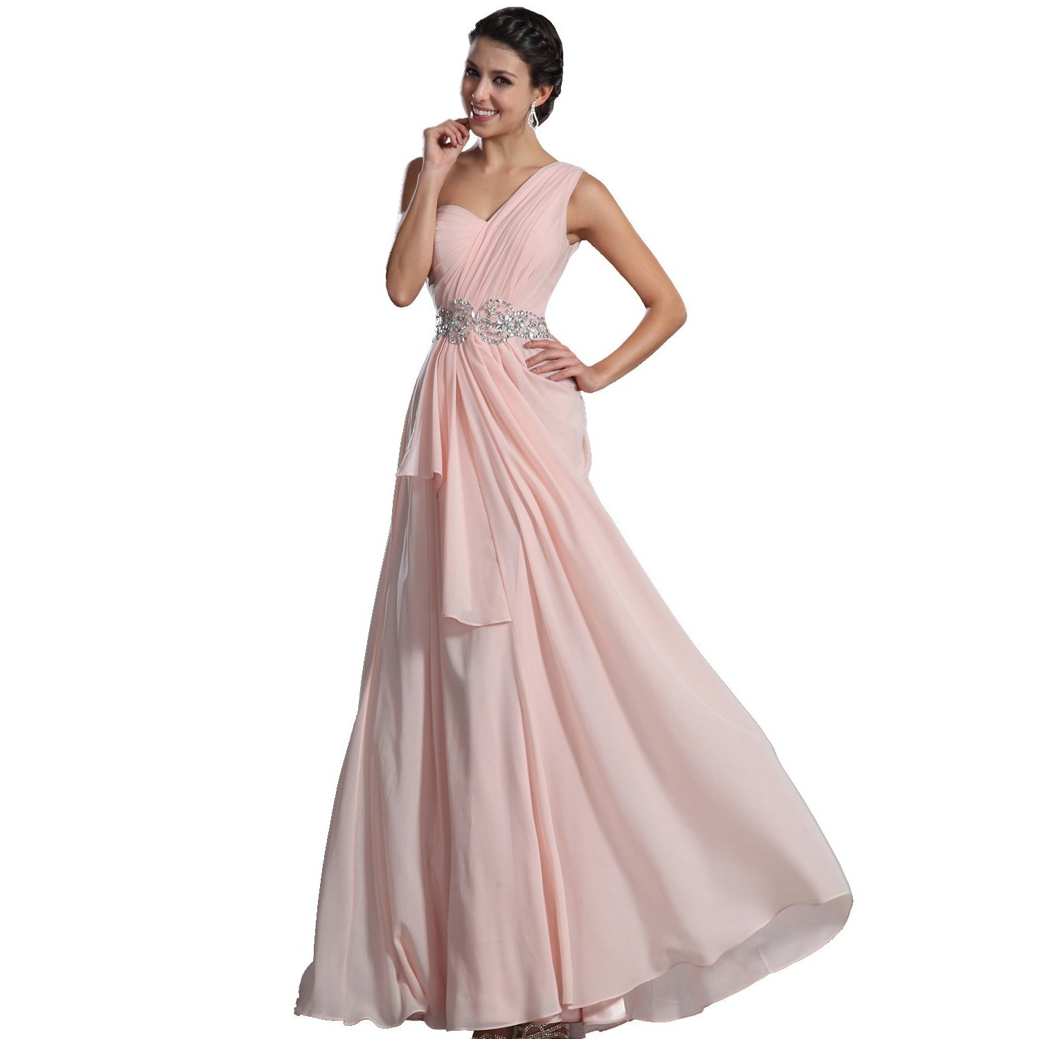 Edressit glamorous bretelle unique robe de soiree bal for Robes longues de mariage