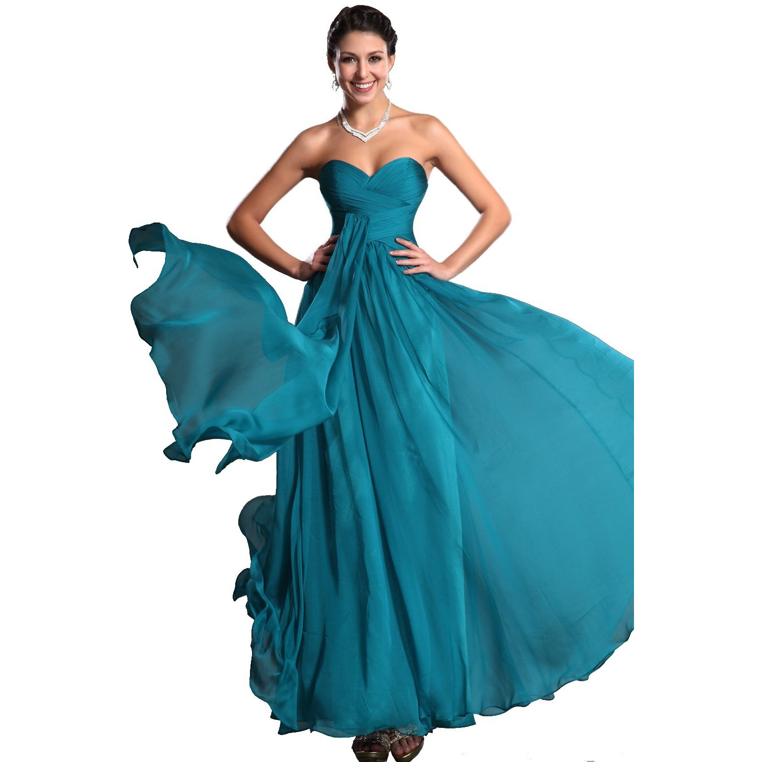 Robe bustier turquoise longue