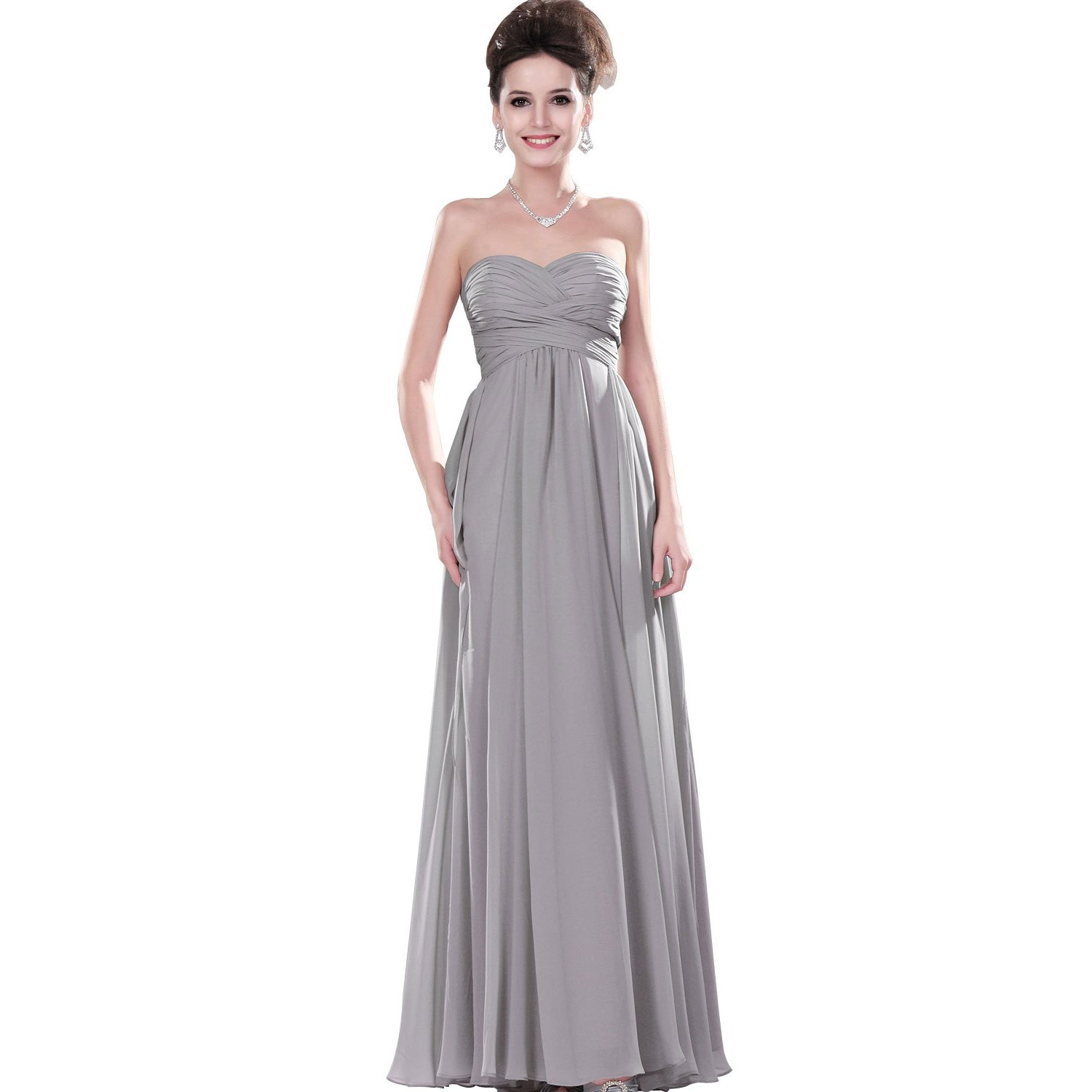 Robe grise mariage longue